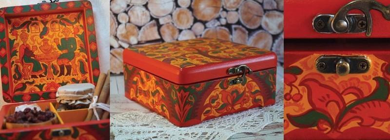木质茶盒图案