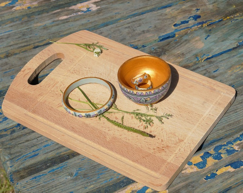 薰衣草木质手镯和戒指