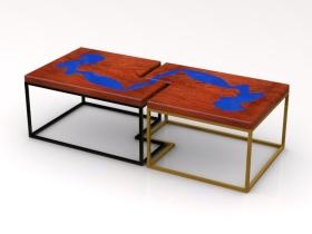 组合金属木质玻璃茶几角几