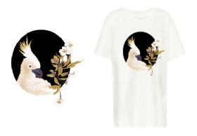 复古花卉鹦鹉T恤