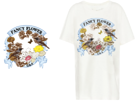 复古花鸟文字T恤图案