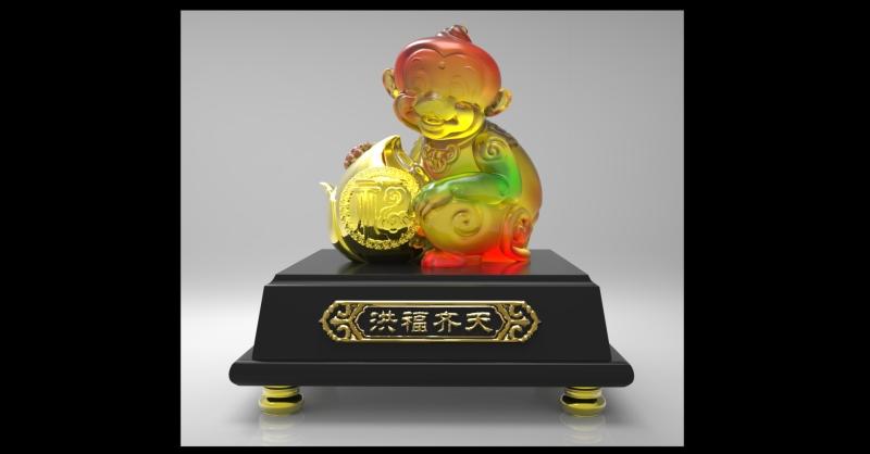 中式猴子动物水晶玻璃琉璃工艺品摆件