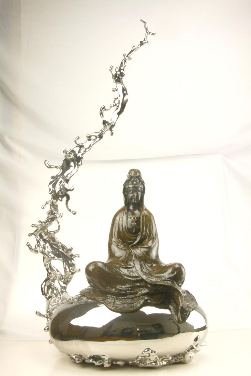 中式流水佛像观音菩萨禅意摆件工艺品