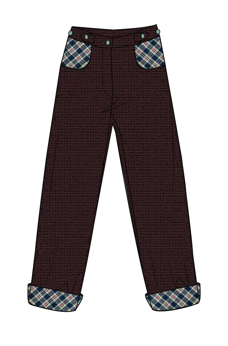 个性灯芯绒牛仔格子直筒长裤女