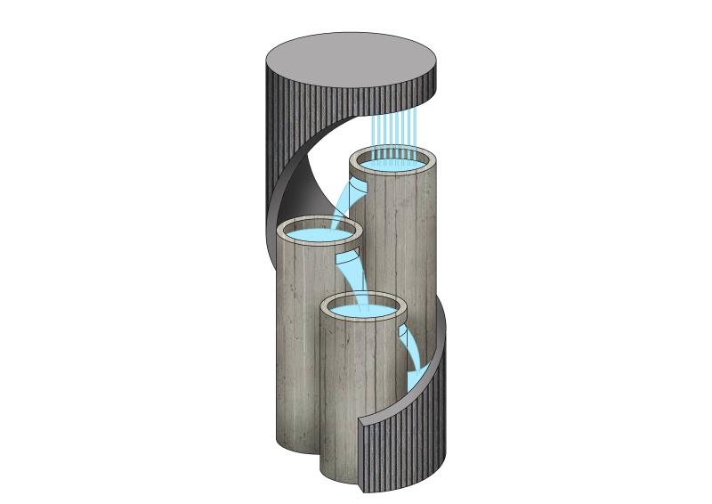 现代环形圆柱喷泉流水