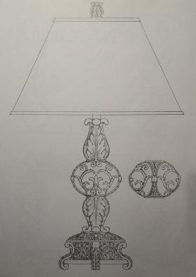 树脂欧式古典图案台灯
