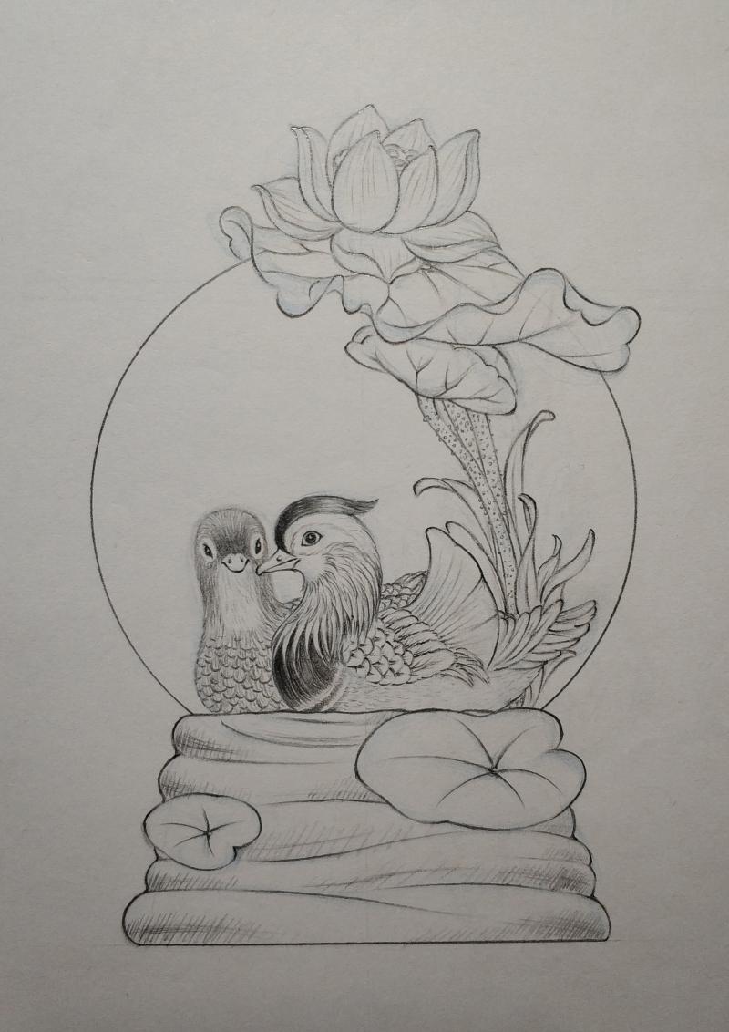 中式风格鸳鸯戏水水晶球