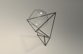 几何铁架玻璃花器