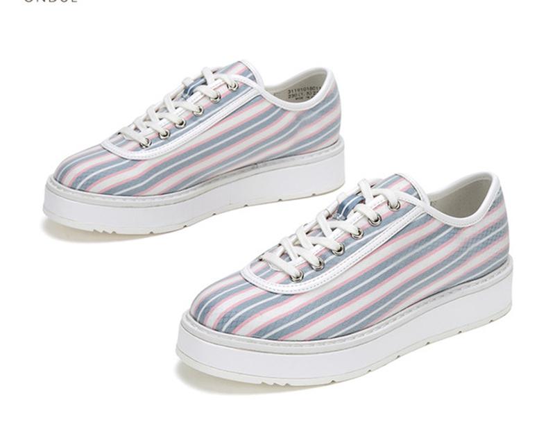 时尚条纹印刷图案板鞋