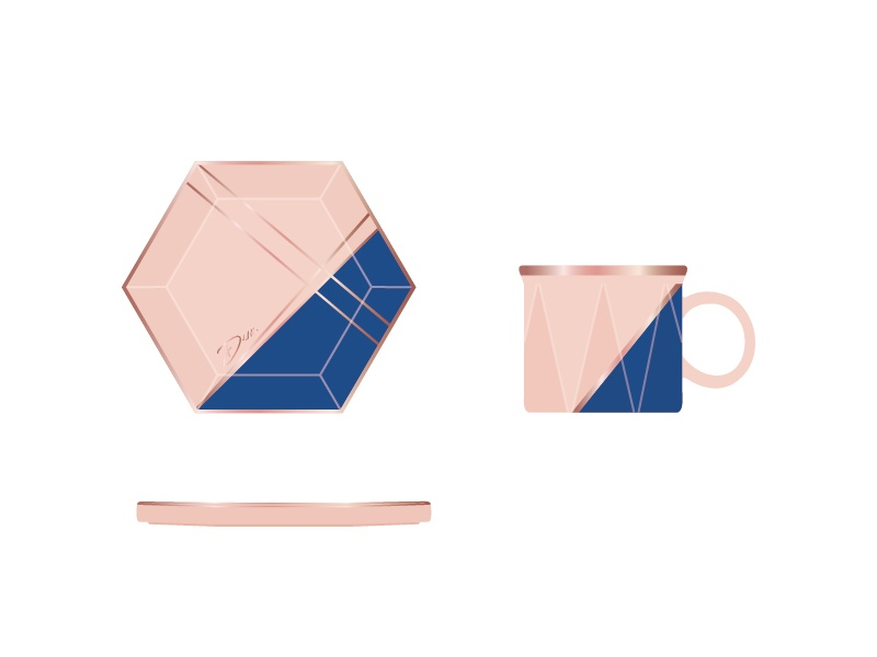 欧式几何杯碟