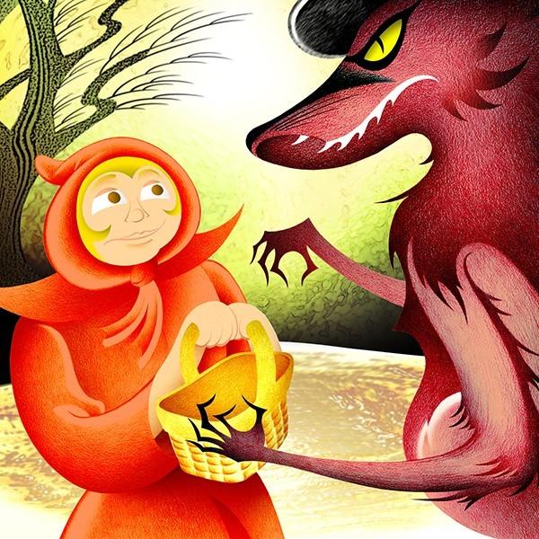 小红帽和狼插画