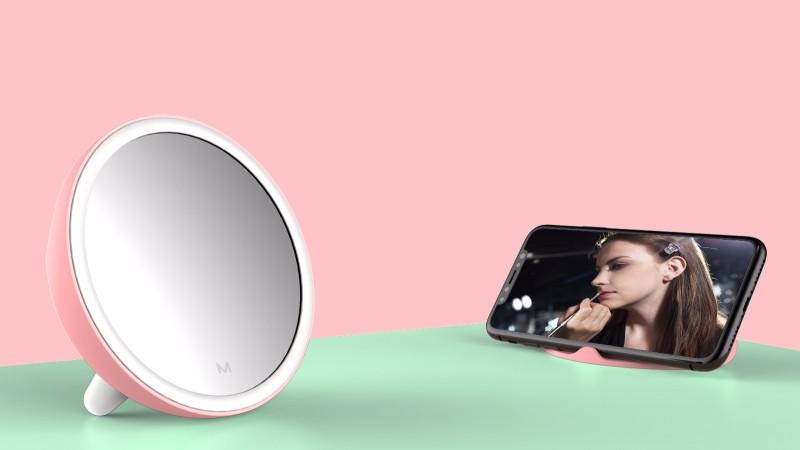 收纳手机支架自拍补光mini美妆镜