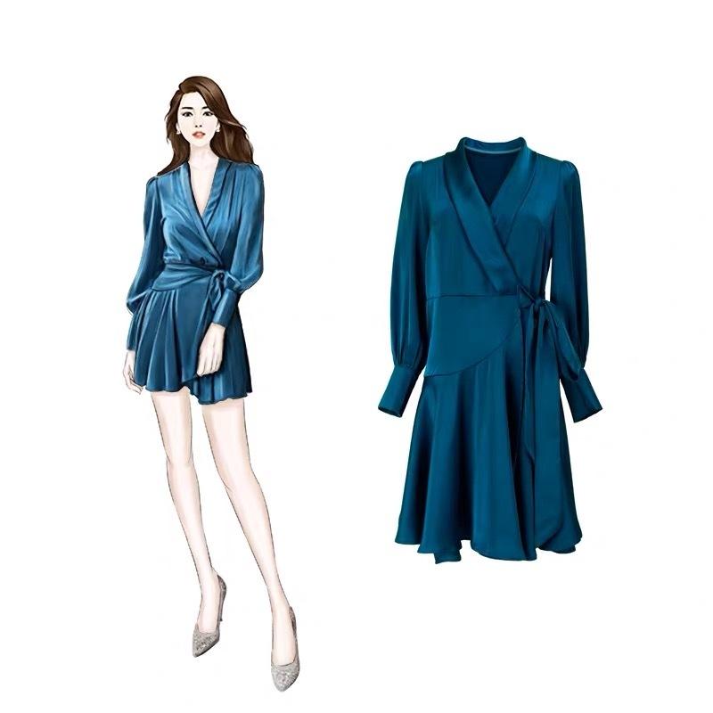女装春夏季连衣裙服装设计效果图