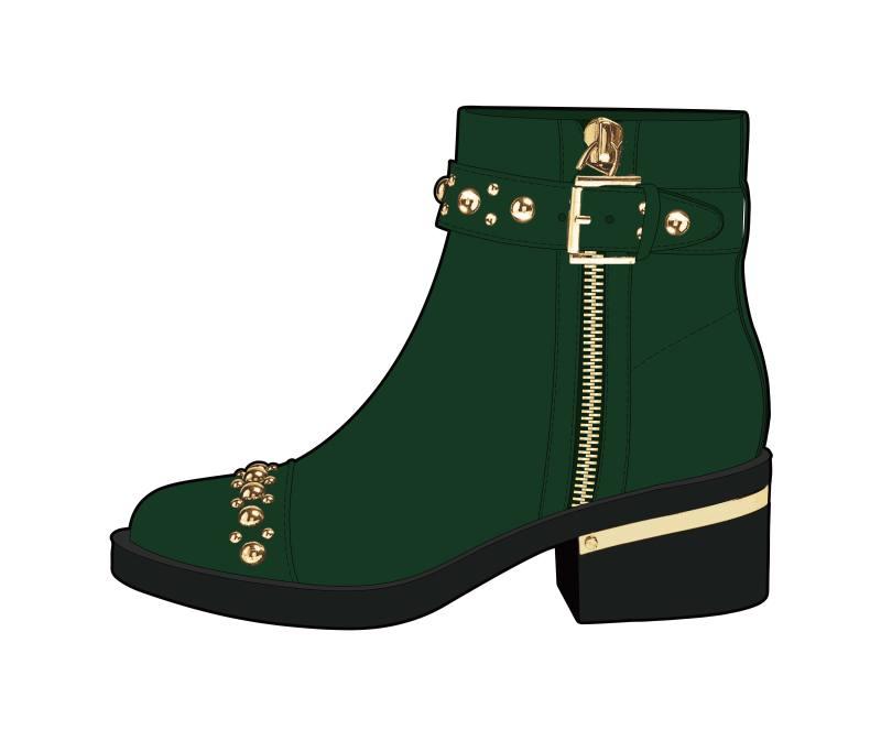 绿色女靴铆钉短靴
