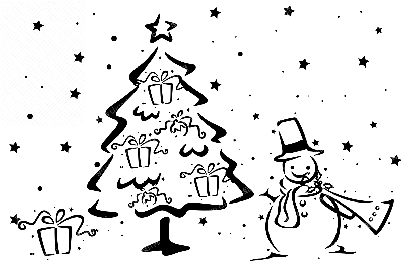圣诞树雪人礼物图案-设计案例_彩虹设计网