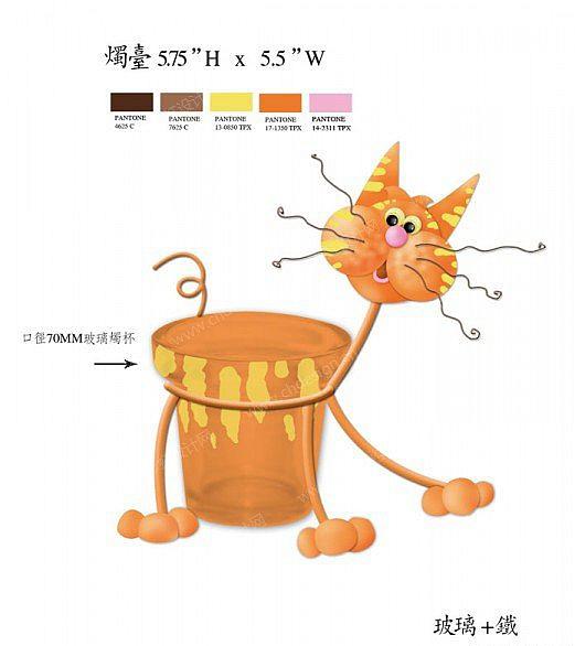 铁艺卡通动物猫 玻璃烛台1