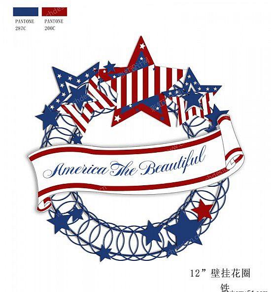 壁挂花圈美国国旗元素-设计案例_彩虹设计网