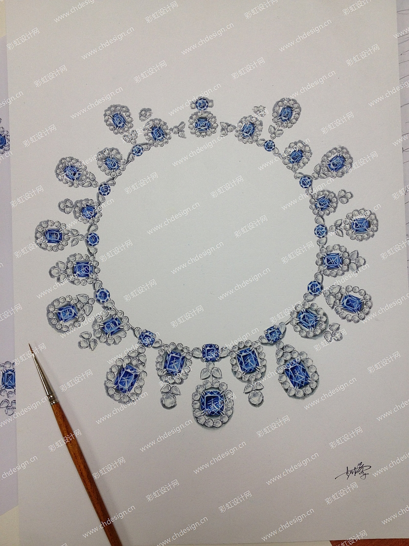 珠宝首饰戒指项链手绘镶嵌-设计案例_彩虹设计网