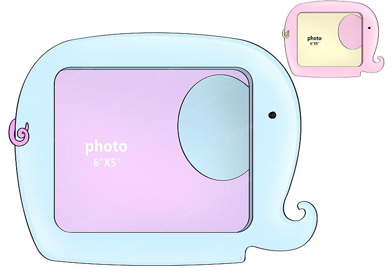 卡通动物大象相框-设计案例