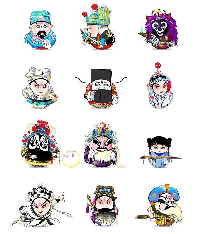 卡通人物京剧脸谱图案设计图片