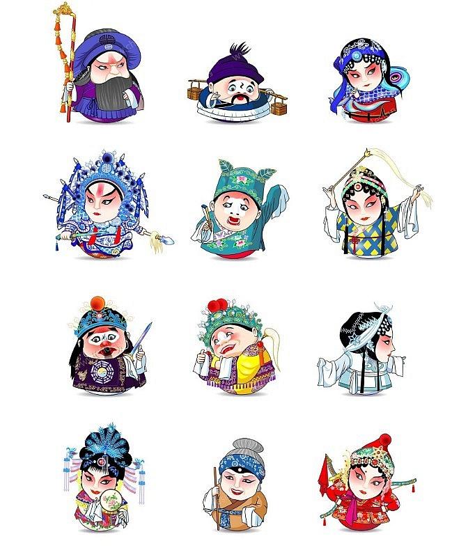 卡通脸谱图片_卡通人物京剧脸谱图案设计-设计案例_彩虹设计网