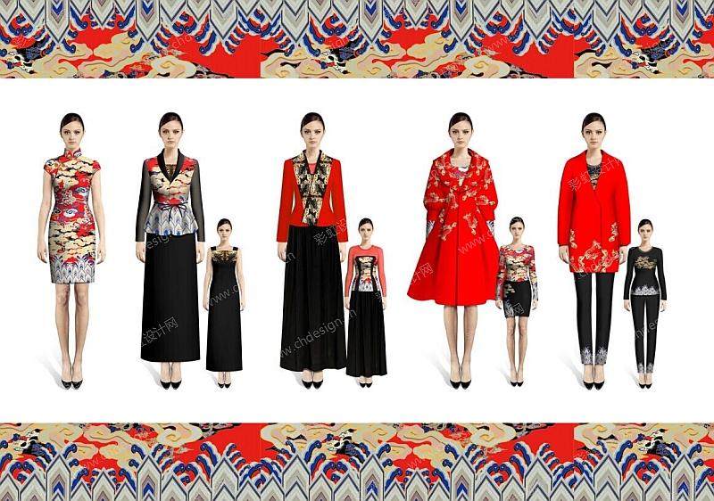设计案例 服装设计 中国风——祥云海崖主题女装系列效果图  已生产