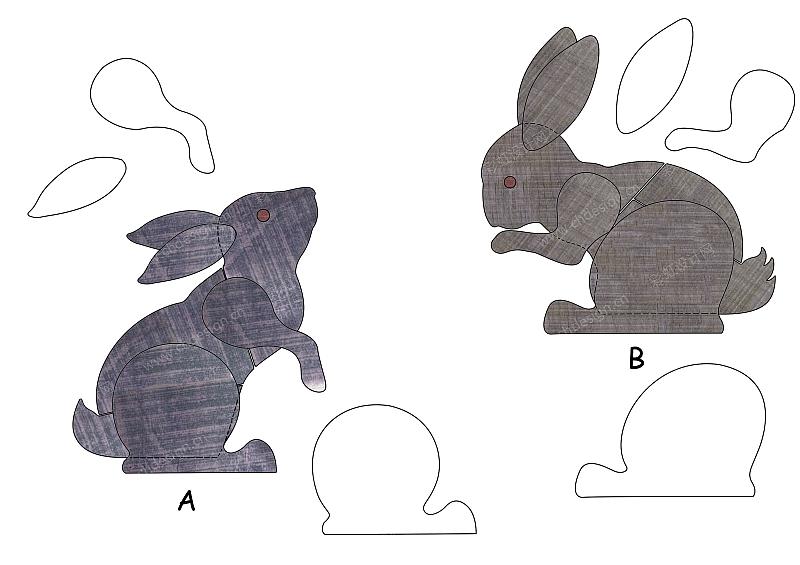 花园动物造型仿旧木拼板效果-兔子