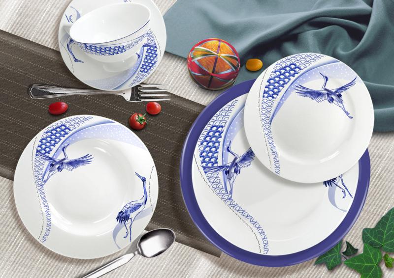 新中式风 青花图案创意餐具花面设计