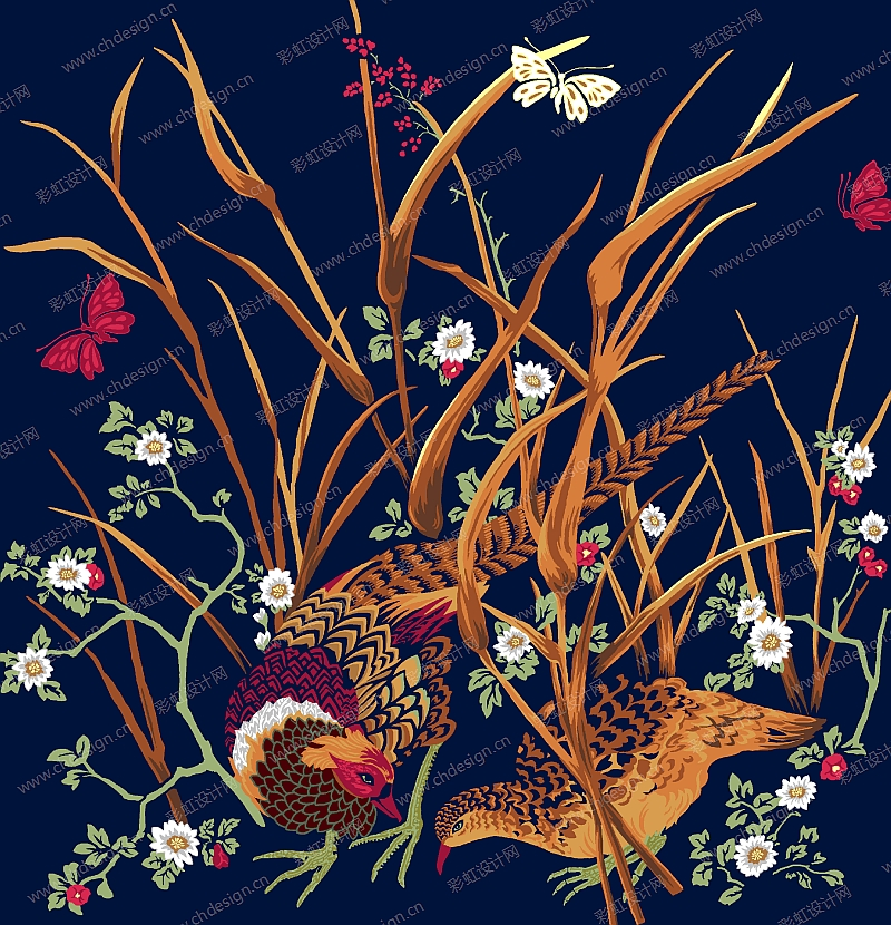 彩虹设计网 设计案例 家纺布艺图案 印花 绣花 提花 手绘 电脑绘 国际