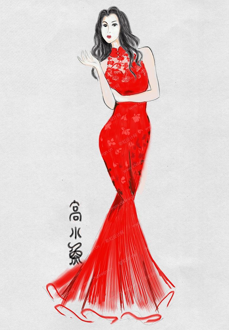彩虹设计网 设计案例 服装设计 大红旗袍礼服_0002  收藏点赞作品人气