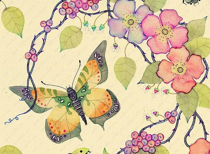 插画蝴蝶手绘图案