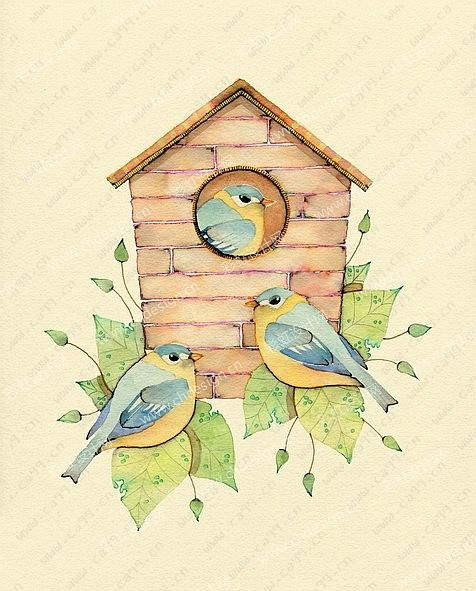 插画鸟手绘图案-设计案例_彩虹设计网