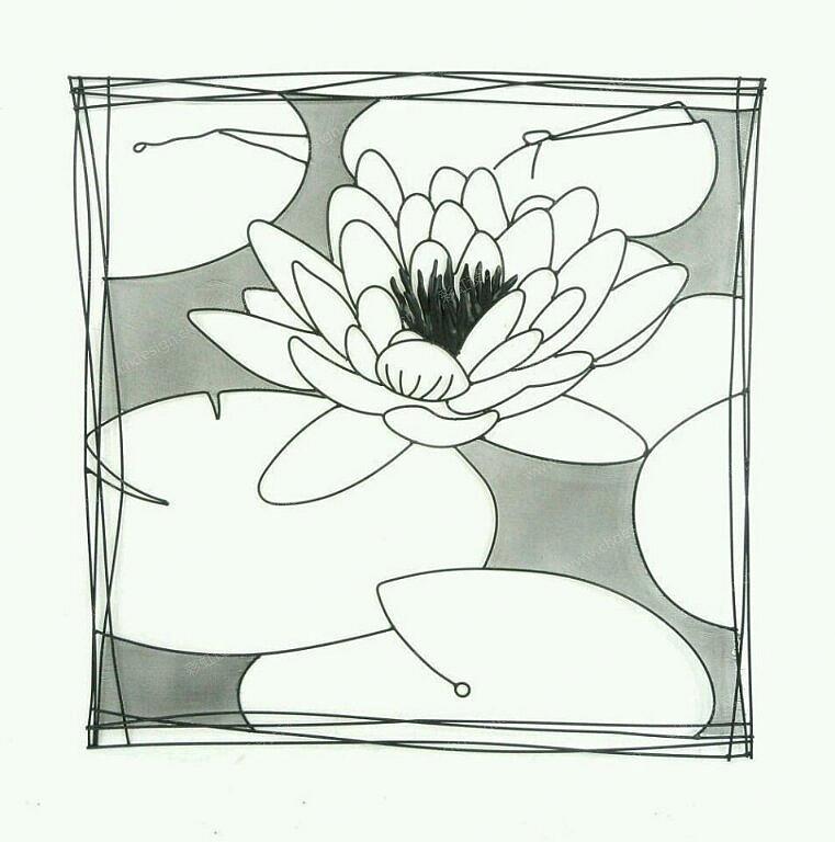 手绘线描荷花图案