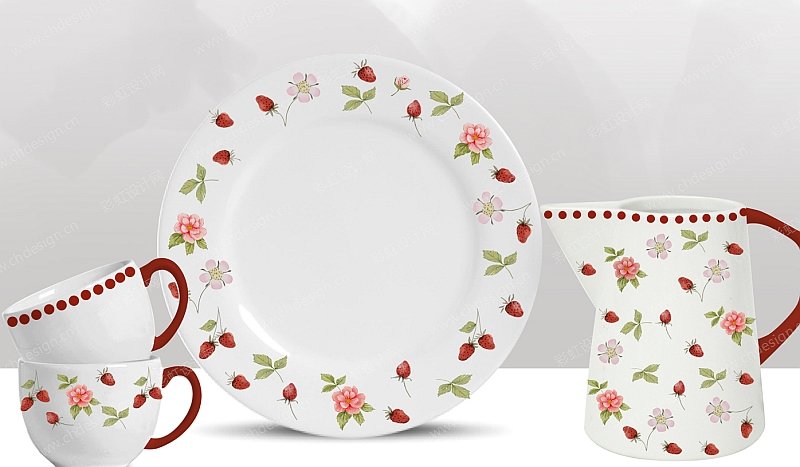 陶瓷花面设计餐具-设计案例_彩虹设计网