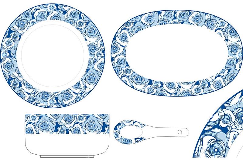 陶瓷餐具-时尚青花花纸-设计案例_彩虹设计网