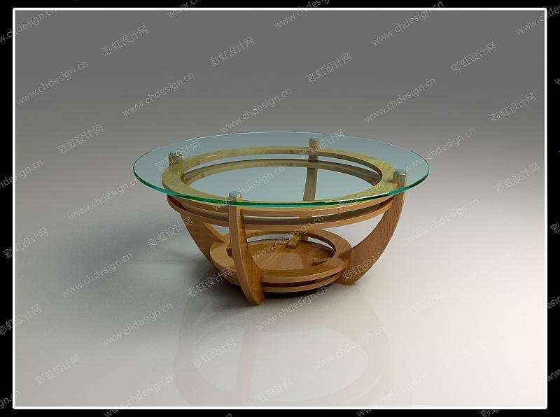实木圆茶几-设计案例_彩虹设计网