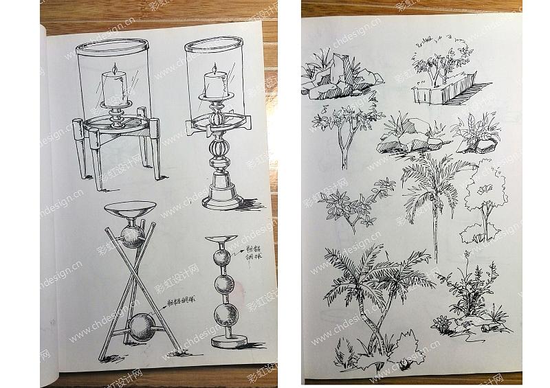 草图手绘烛台
