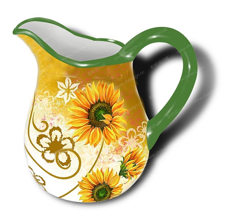 陶瓷水壶造型花纸设计