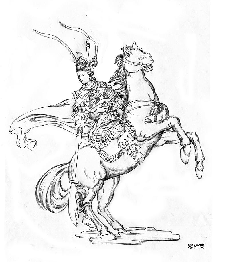 工艺品设计 手绘人物 穆桂英
