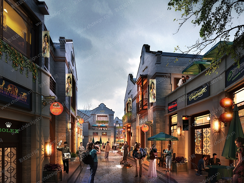 民国商业街区 入口 街景-设计案例_彩虹设计网