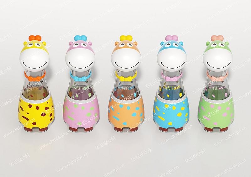 长颈鹿儿童塑料水杯-设计案例
