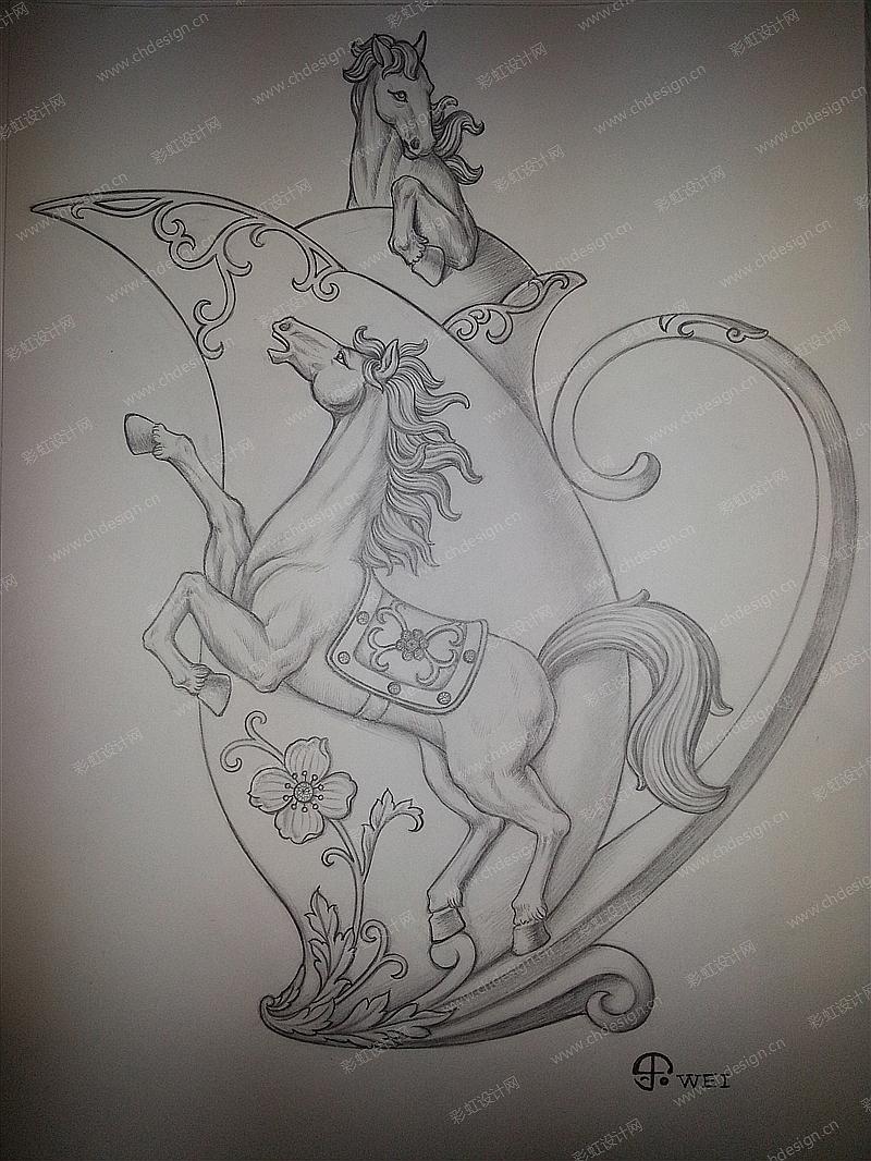 骏马水壶手绘设计