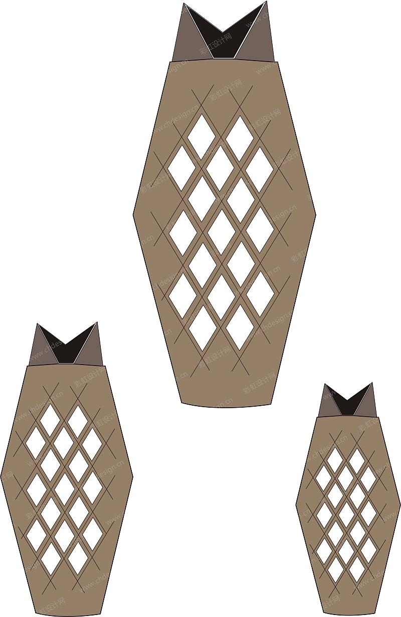 陶瓷菱形镂空花插