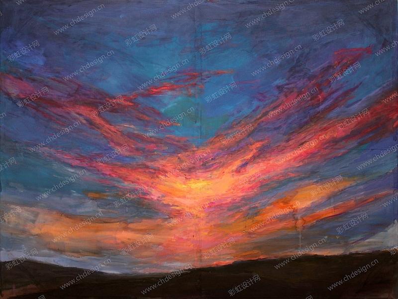 天空油画丙烯画挂件文艺画风景画