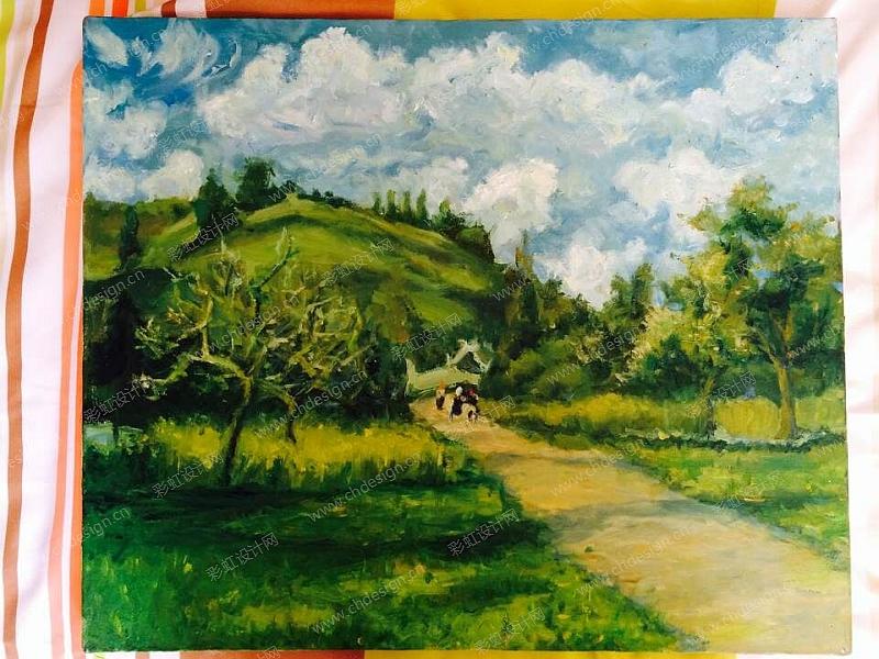 树林间油画丙烯画挂件文艺画风景画