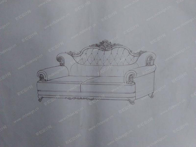 手绘欧美沙发家具-设计案例_彩虹设计网
