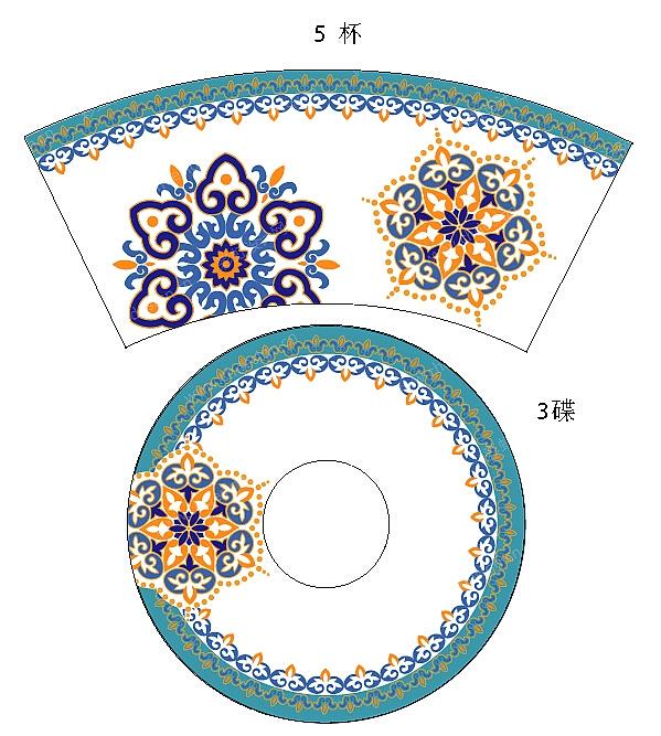 陶瓷咖啡杯碟伊斯兰主题图案设计