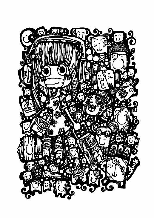 卡通插画服装头巾插画矢量插画原创《favourite》一系列的黑白插画