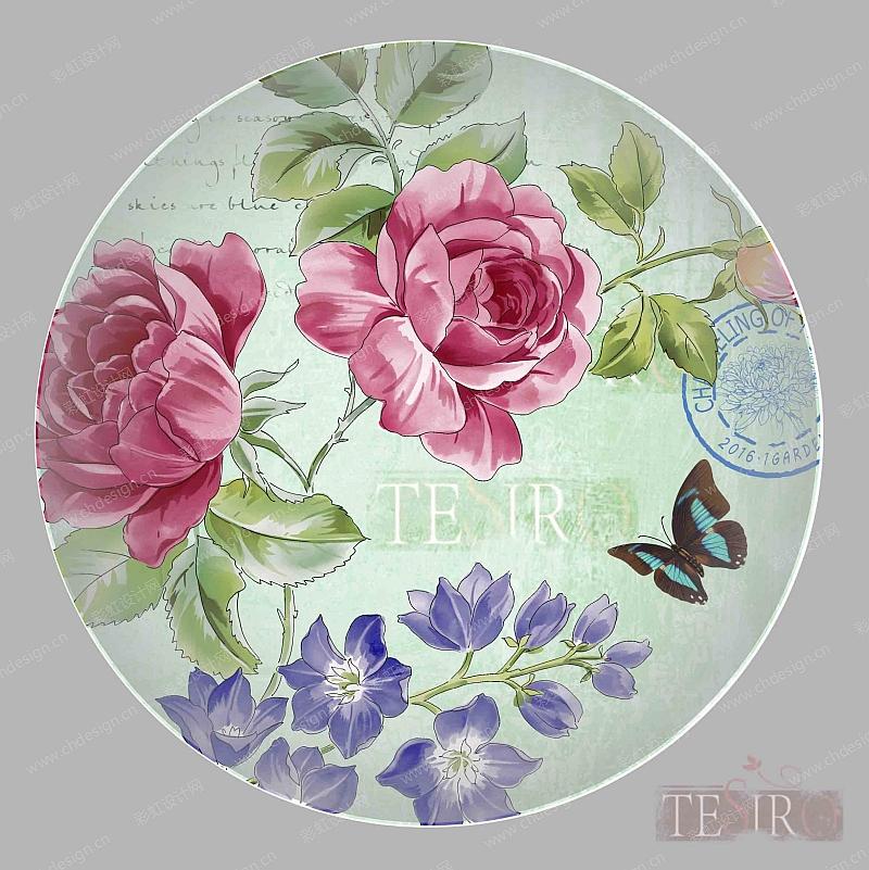 手绘蝴蝶花卉陶瓷餐具图案-设计案例