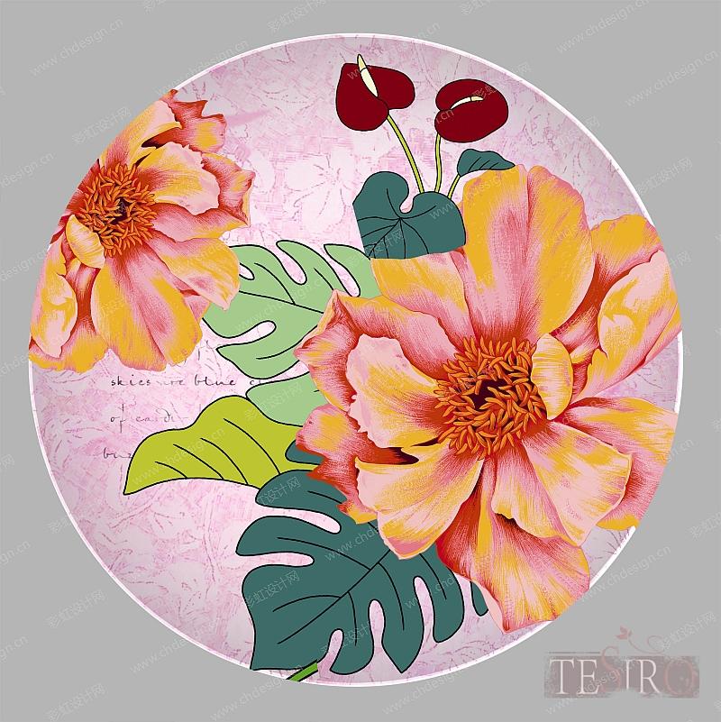 手绘花卉陶瓷餐具图案-设计案例_彩虹设计网
